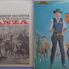 Discos de vinilo: BONANZA. TODA LA MUSICA DE DAVID ROSE EN LA SERIE + FAVOURITE WESTERN THEMES. 2 LPS + 2 REGALOS. Lote 263589910