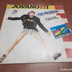 Discos de vinilo: JOVANOTTI. FOR PRESIDENTE. VINILO SINGLE EN BUEN ESTADO. DIFICIL DE CONSEGUIR. Lote 263609370