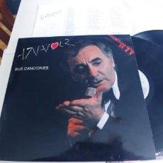 Discos de vinilo: CHARLES AZNAVOUR-LP DOBLE SUS CANCIONES-LETRAS-NUEVO. Lote 263610025
