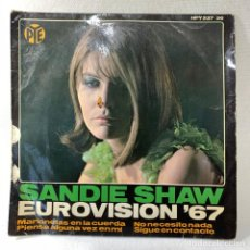 Discos de vinilo: SINGLE SANDIE SHAW - EUROVISION ' 67 - ESPAÑA - AÑO 1967. Lote 263683000