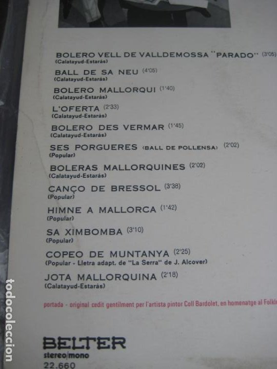 Discos de vinilo: ELS VALLDEMOSSA CANTEN EL FOLKLORE DE MALLORCA - LP BELTER 1972 - FOLK POP 70S - LEVE USO - Foto 4 - 263776450