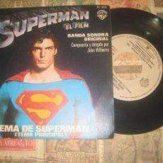 Discos de vinilo: SUPERMAN EL FILM, TEMA PRINCIPAL, TEMA DE AMOR, JOHN WILLIAMS, (WARNER BROS 1979) O ESPAÑA. Lote 263794135