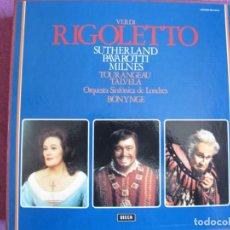 Discos de vinilo: BOX SET - VERDI - RIGOLETTO (CONTIENE 3 LP'S Y LIBRETO, SPAIN, DECCA 1974, VER FOTOS ADJUNTAS). Lote 264051575