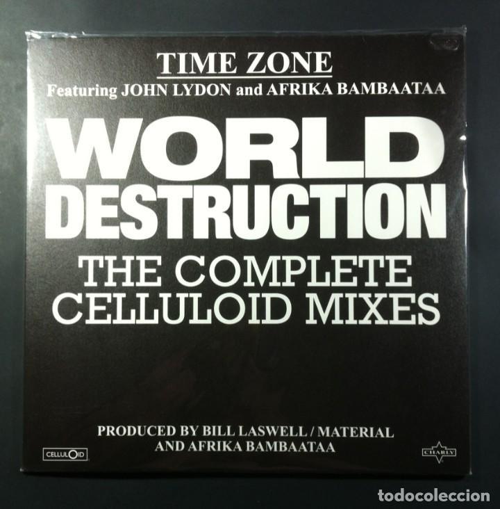 TIME ZONE FEAT JOHN LYDON & AFRIKA BAMBAATAA - WORLD DESTRUCTION - 12 EP 2017 - CELLULOID (NUEVO) (Música - Discos de Vinilo - EPs - Rap / Hip Hop)