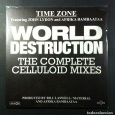 Discos de vinilo: TIME ZONE FEAT JOHN LYDON & AFRIKA BAMBAATAA - WORLD DESTRUCTION - 12 EP 2017 - CELLULOID (NUEVO). Lote 264067955