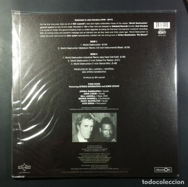 Discos de vinilo: TIME ZONE feat JOHN LYDON & AFRIKA BAMBAATAA - World Destruction - 12 EP 2017 - CELLULOID (Nuevo) - Foto 2 - 264067955