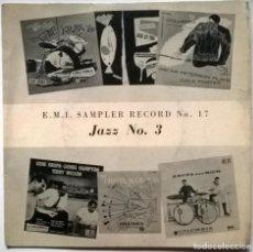 Disques de vinyle: GENE KRUPA/ BUDDY RICH/ OSCAR PETERSON. EMI SAMPLER RECORD NO. 17 JAZZ 3, UK EP. Lote 264096660