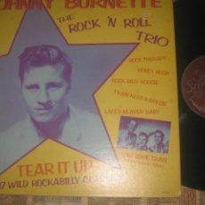 Discos de vinilo: JOHNNY BURNETTE THE ROCK 'N ROLL TRIO SOLID SMOKE 1978 DOBLE CARPETA ORIGINAL USA ROCKABILLY. Lote 264342764