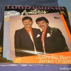 Discos de vinilo: LP SALSA SIN FRONTERA LAS FUERZA VALLENATA JUANCHO BARROS ISMAEL ORDOÑEZ BUEN ESTADO. Lote 264778324