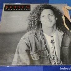 Discos de vinilo: LP KENNY G BREATHLESS 1983 PORTADA CON GRAN ROTO VINILO EN BUEN ESTADO. Lote 264789959