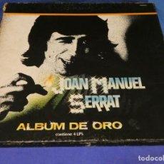 Discos de vinilo: CAJA JOAN MANUEL SERRAT ALBUM DE ORO BUEN ESTADO GENERAL 4 LPS ZAFIRO 1981. Lote 264792689