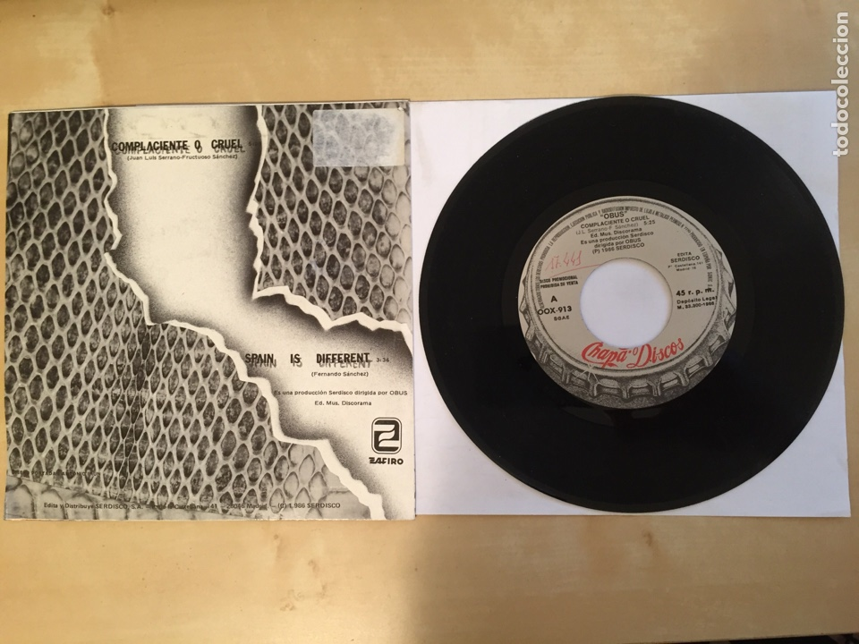 """Discos de vinilo: Obus - Complaciente O Cruel - PROMO SINGLE 7"""" - SPAIN 1988 Chapa Discos - Foto 3 - 264871429"""