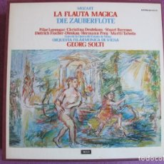 Disques de vinyle: BOX SET - MOZART - LA FLAUTA MAGICA (CONTIENE 3 LP'S + LIBRETO, SPAIN, DECCA 1973, VER FOTOS). Lote 265212394
