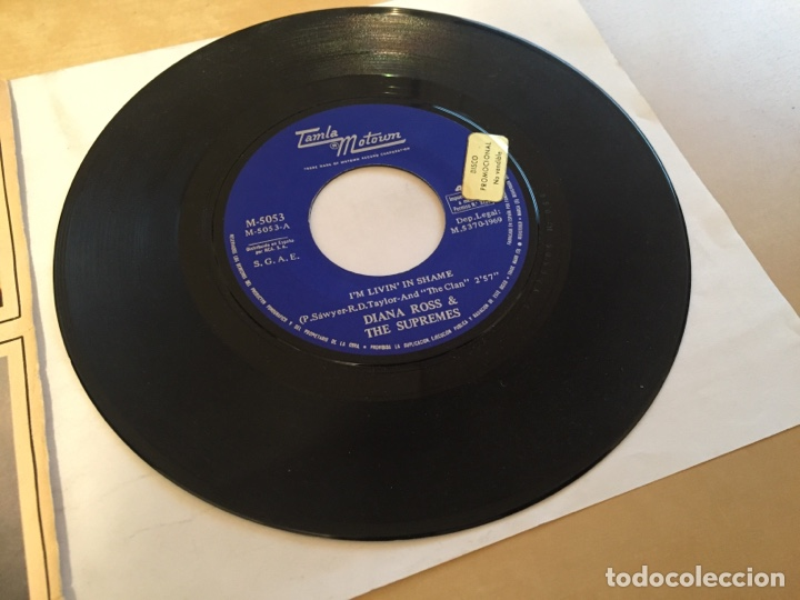 "Discos de vinilo: Diana Ross & The Supremes - I'm Livin' In Shame - PROMO SINGLE 7"" - SPAIN 1969 Tamla Motown - Foto 2 - 265357789"