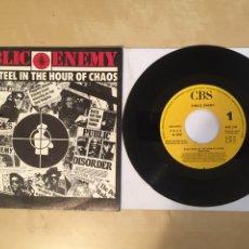 "Discos de vinilo: PUBLIC ENEMY - BLACK STEEL IN THE HOUR OF CHAOS - PROMO SINGLE 7"" SPAIN 1988 CBS. Lote 265367274"