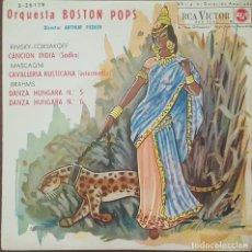 Discos de vinilo: EP / ORQUESTA BOSTON POPS / CANCION HÚNGARA - CAVALLERIA RUSTICANA - DANZA HÚNGARA Nº 5 Y 6, 1962. Lote 265514859