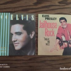 Discos de vinilo: LOTE 2 DISCOS SINGLE DE VINILO ELVIS PRESLEY: JAILHOUSE ROCK (1958)0, I CAN HELP, THE LADY LOVES ME. Lote 265537569