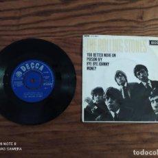 Discos de vinilo: DISCO EP DE VINILO THE ROLLING STONES (1964) YOU BETTER MOVE ON, BYE JOHNNY, MONEY, DFE 8560 DECCA. Lote 265563059