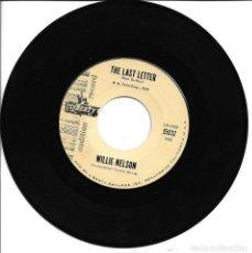 Discos de vinilo: WILLIE NELSON - HALF A MAN + THE LAST LETTER SINGLE USA SIN PORTADA 1963. Lote 265651009