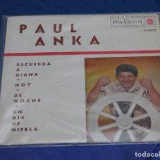 Discos de vinilo: DISCO 7 PULGADAS EP ESPAÑOL PAUL ANKA RECUERDA A DIANA 1963 BUEN ESTADO. Lote 265658419