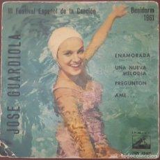 Discos de vinilo: EP / JOSE GUARDIOLA, III FESTIVAL ESPAÑOL DE LA CANCIÓN, BENIDORM 1961 - ENEMOARADA +3, VINILO AZUL. Lote 265659414