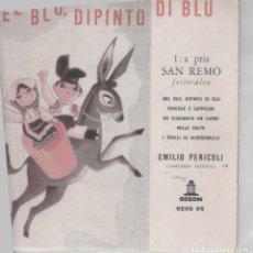 Discos de vinilo: EP EMILIO PERICOLI 1; PRIS SAN REMO FESTIVALEN ODEON SANREMO 1959 5 BRANI NORWAY GEOS 95. Lote 265689404