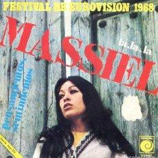 Discos de vinilo: MASSIEL / LA,LA,LA (EUROVISION 1968) / PENSAMIENTOS, SENTIMIENTOS (SINGLE 1968). Lote 265817819
