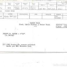 Discos de vinilo: PETER TOSH - JOHNNY B. GOODE + PEACE TREATY SINGLE TEST PRESSING SIN PORTADA NI INFORMACION 1983. Lote 265901878