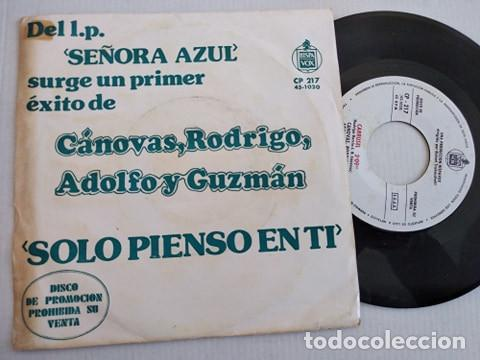 CANOVAS RODRIGO ADOLFO Y GUZMAN, SOLO PIENSO EN TI (HISPVX 74) SINGLE PROMOCIONAL SOLERA SEÑORA AZU (Música - Discos - Singles Vinilo - Grupos Españoles de los 70 y 80)