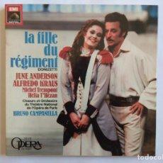 Discos de vinilo: DONIZETTI. LA FILLE DU RÉGIMENT. JUNE ANDERSON. ALFREDO KRAUS.. BOX EMI 2 LP'S 2704873. FRANCE 1986.. Lote 266295748