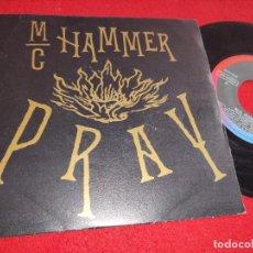 Discos de vinilo: MC HAMMER PRAY JAM THE HAMMER MIX 7'' SINGLE 1991 CAPITOL PROMO DOBLE CARA PRINCE ESPAÑA SPAIN. Lote 266684808