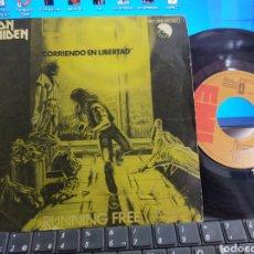 Disques de vinyle: IRON MAIDEN SINGLE PROMOCIONAL CORRIENDO EN LIBERTAD RUNNING FREE ESPAÑA 1980. Lote 266717238