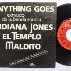 Disques de vinyle: OST INDIANA JONES Y EL TEMPLO MALDITO - 45 SPAIN PS - MINT * PROMO * POLYDOR 1984. Lote 266775769