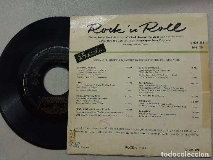 Discos de vinilo: EP BILL HALEY & HIS COMETS, SHAKE RATTLE AND ROLL, ROCK AROUND TE CLOCK, HAPPY BABY +1 - Foto 2 - 267102194
