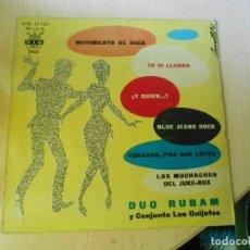 Discos de vinilo: DUO RUBAM Y CONJUNTO LOS QUIJOTES, EP, MOVIMIENTO DE ROCK + 5, AÑO 1961. Lote 267105944