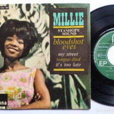 Discos de vinilo: MILLIE - EP FRANCE PS - MINT * BOODSHOT EYES / MY STREET / TONGUE TIED / IT'S TOO LATE * 1965. Lote 267276049