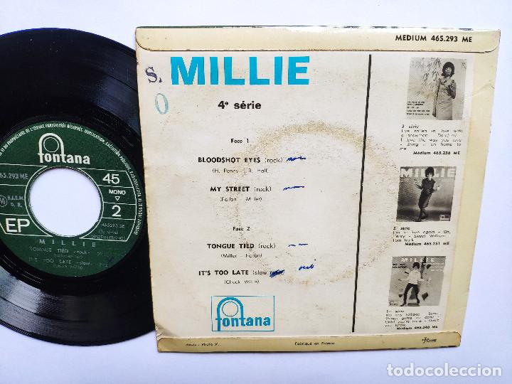 Discos de vinilo: MILLIE - EP France PS - MINT * BOODSHOT EYES / MY STREET / TONGUE TIED / ITS TOO LATE * 1965 - Foto 2 - 267276049