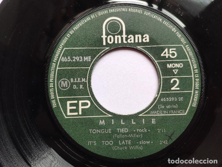Discos de vinilo: MILLIE - EP France PS - MINT * BOODSHOT EYES / MY STREET / TONGUE TIED / ITS TOO LATE * 1965 - Foto 4 - 267276049