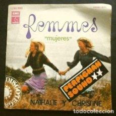 Disques de vinyle: NATHALIE Y CHRISTINE CON LES VIBRATIONS (SINGLE 1975) FEMMES PART I Y PART II. Lote 267288514