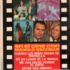Discos de vinilo: EN EL CINE CON MANOLO ESCOBAR - ENTRE DOS MARES, EN UN LUGAR DE LA MANCHA.../ LP BELTER RF-9613. Lote 267325574