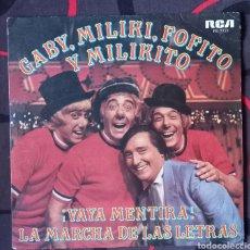 Discos de vinilo: GABY FOFO MILIKI Y FOFITO. PAYASOS DE LA TELE. SINGLE, VINILO. Lote 289875163