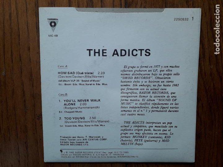Discos de vinilo: Adicts - how sad (que triste) + youll never walk alone + too young - Foto 2 - 267513779