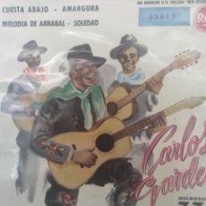Discos de vinilo: CARLOS GARDEL** CUESTA ABAJO * AMARGURA * MELODÍA DE ARRABAL * SOLEDAD **. Lote 267563459