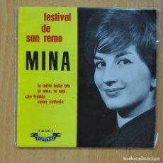 Discos de vinilo: MINA - LE MILLE BOLLE BLU / IO AMO, TU AMI / CHE FREDDO / COME SINFONIA - EP. Lote 267619399