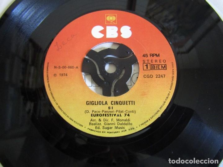 """Discos de vinilo: Gigliola Cinquetti - Si - Single 7"""" Eurovisión 74 Editado En Portugal - Foto 4 - 267660269"""