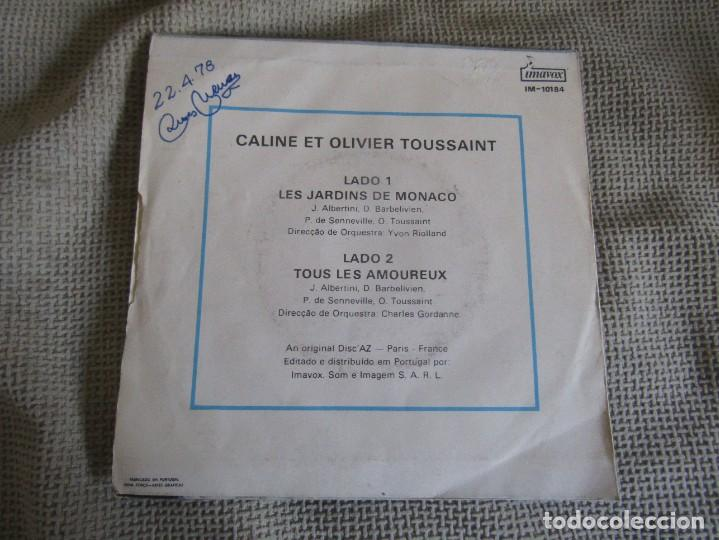 "Discos de vinilo: Caline et Olivier Toussaint - Les Jardins de Monaco - Single 7"" Eurovisión 78 Editado En Portugal - Foto 2 - 267665264"