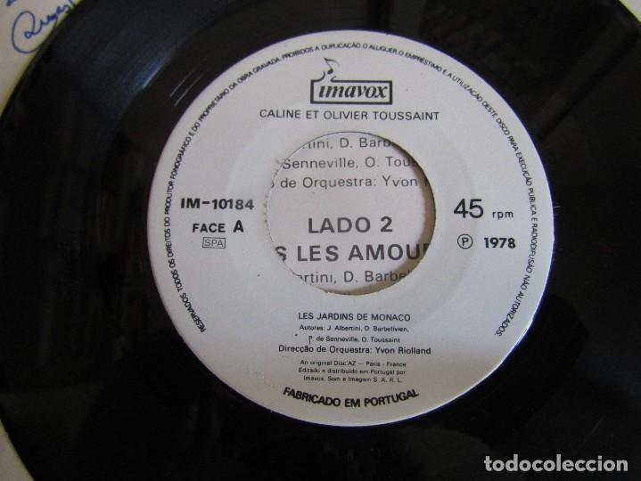 "Discos de vinilo: Caline et Olivier Toussaint - Les Jardins de Monaco - Single 7"" Eurovisión 78 Editado En Portugal - Foto 4 - 267665264"