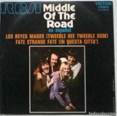 Dischi in vinile: MIDDLE OF THE ROAD EN ESPAÑOL. LOS REYES (TWEEDLE DEE DUM)/ FATE STRANGE FATE. RCA SPAIN 1971 SINGLE. Lote 267685304
