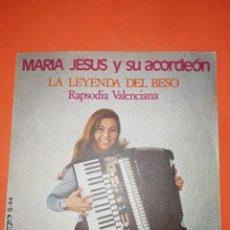 Discos de vinilo: MARIA JESUS Y SU ACORDEON. LA LEYENDA DEL BESO. OLIMPO 1975. Lote 267724304