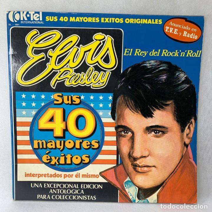 LP - VINILO ELVIS PRESLEY - SUS 40 MAYORES ÉXITOS - DOBLE PORTADA - 2 LPS - ESPAÑA - AÑO 1977 (Música - Discos - LP Vinilo - Rock & Roll)